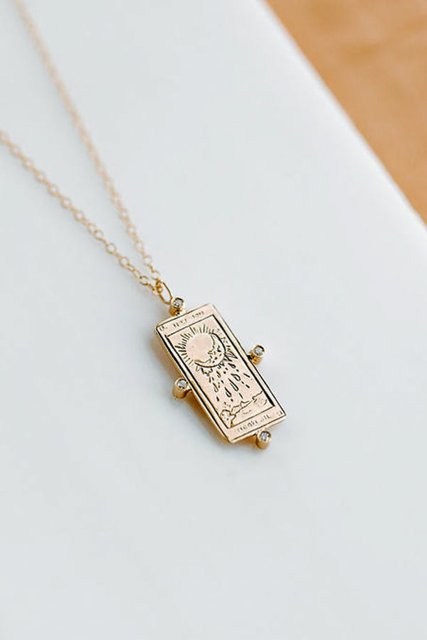 THE MOON DIAMOND TAROT CARD NECKLACE IN 14K
