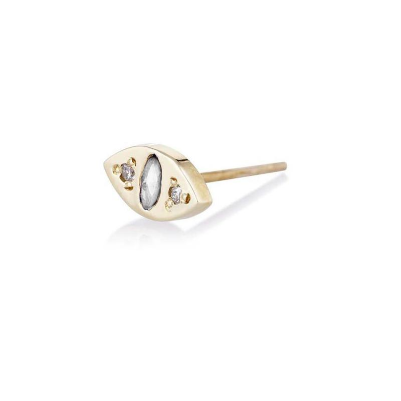 CAT EYE STUD EARRINGS in gold, diamonds