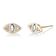 Load image into Gallery viewer, CAT EYE STUD EARRINGS in gold, diamonds