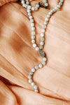 BEADED AQUAMARINE LARIAT WITH PAVE CLASP