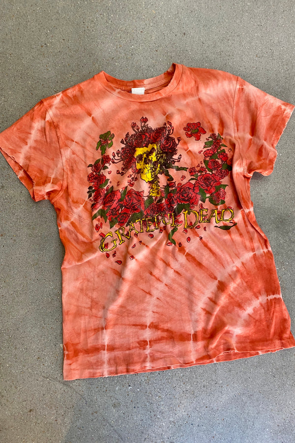 MADEWORN DEAD TEE IN CORAL ROSES