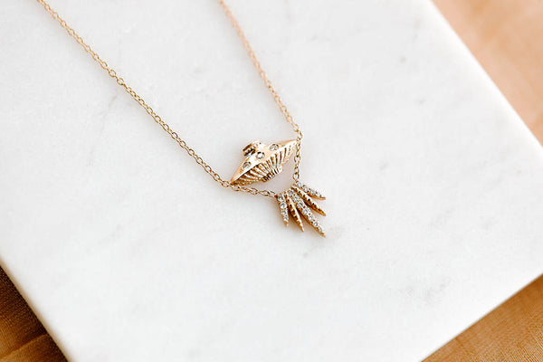 UFO DIAMOND NECKLACE in 14K