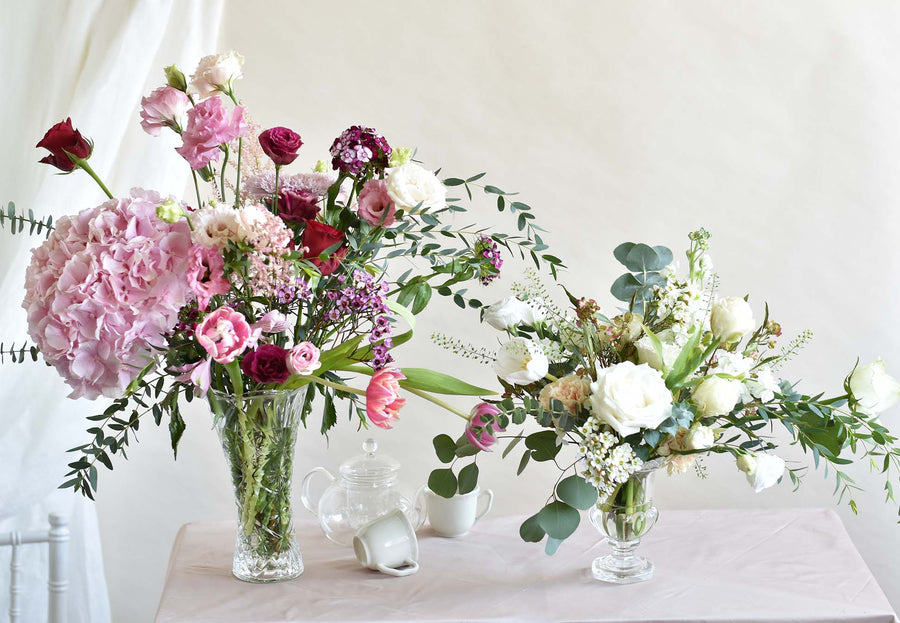 Crystal Vase Flower Arrangement