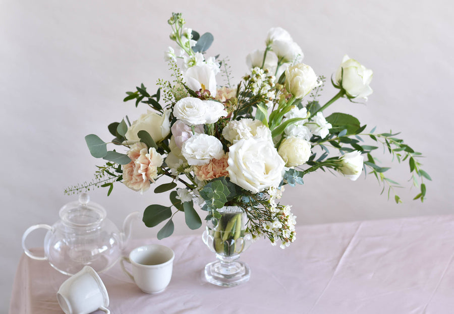 Whites and Greens Classic Vase Centrepiece