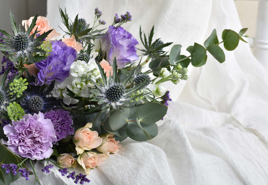 Lilac Carnation Thistle bouquet