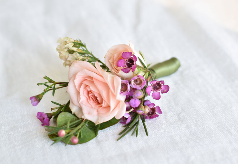Pink wax buttonhole
