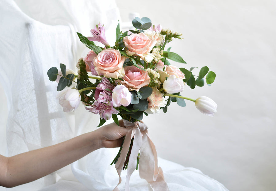Peach and Pink Bridal Bouquet
