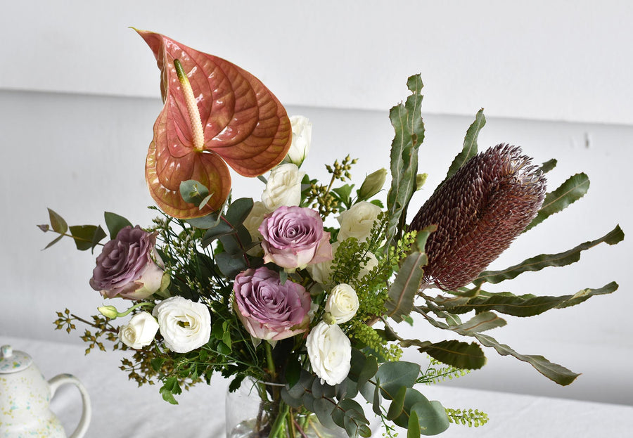 anthurium and banksia flower arrangement