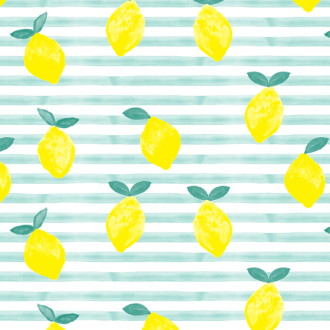 Pre-Order : Watercolor Lemons on Blue Stripe