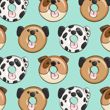 Pre-Order : Doggie Donuts on Mint - Dog Bandana
