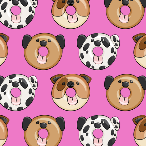 Pre-Order : Doggie Donuts on Fuschia - Dog Bandana