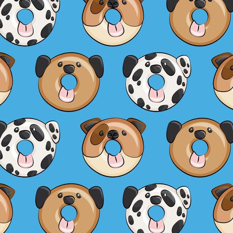 Pre-Order : Doggie Donuts on Blue- Dog Bandana