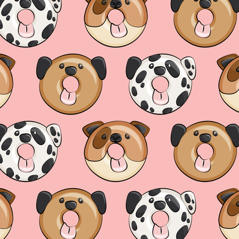 Pre-Order : Doggie Donuts on Pink - Dog Bandana