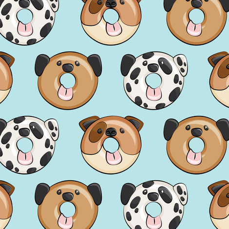 Pre-Order : Doggie Donuts on Light Blue  - Dog Bandana