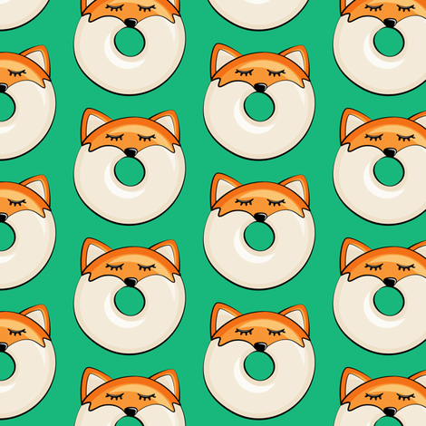 Pre-Order : Donut Foxes on Green - Dog Bandana