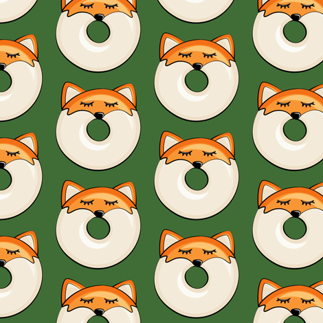 Pre-Order : Donut Foxes on Pine - Dog Bandana