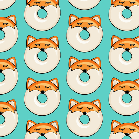 Pre-Order : Donut Foxes on Teal - Dog Bandana
