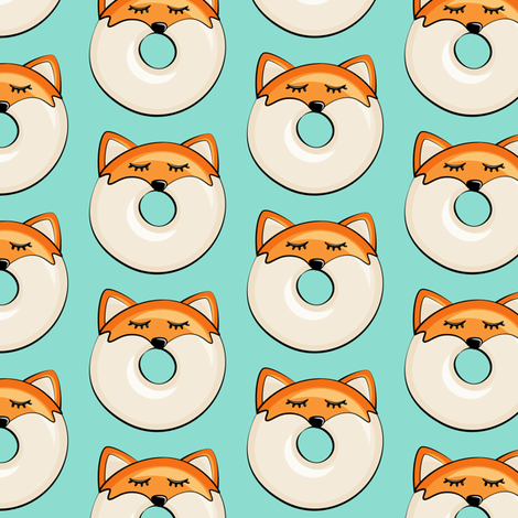 Pre-Order : Donut Foxes on Mint  - Dog Bandana
