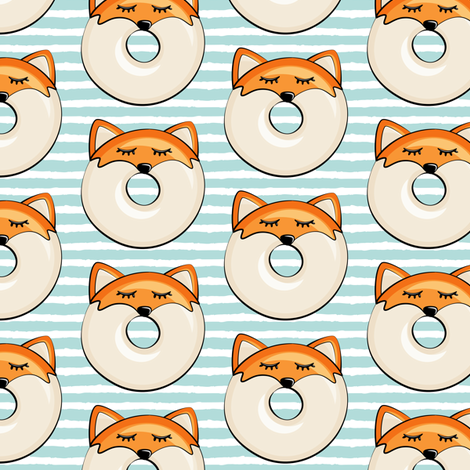 Pre-Order : Donut Foxes on light aqua stripe - Dog Bandana