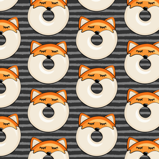 Pre-Order : Donut Foxes on grey stripe  - Dog Bandana