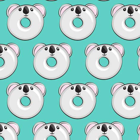 Pre-Order : Koala Donuts on Teal- Dog Bandana