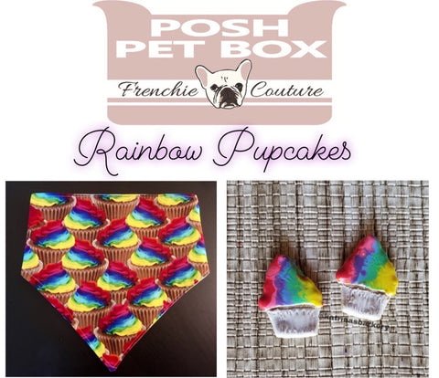 Posh Pet Box - Rainbow Cupcakes - Pride Month Edition - Dog Bandana and Treat Set