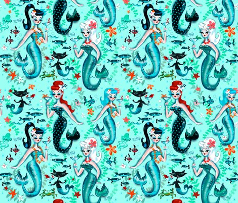 Pre-Order : Mermaid Print: Mermaids and Martinis - Dog Bandana