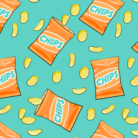 Pre-Order: ALL THAT and a Bag of Chips in Orange on Teal - Dog Bandana
