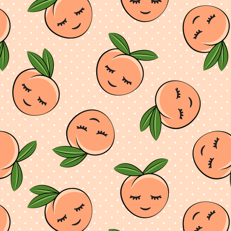 Pre-Order : Happy Peaches on Peach with White Polka Dots