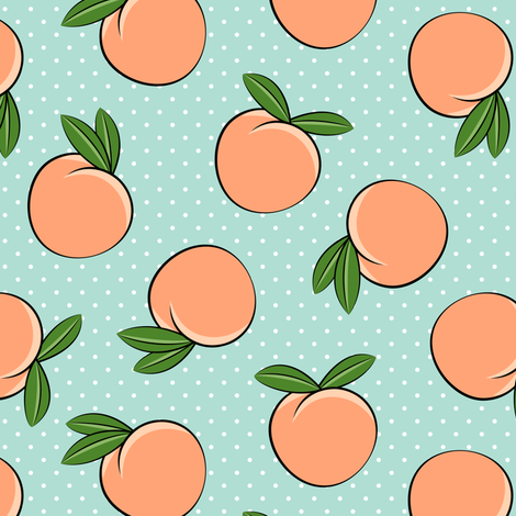 Pre-Order : Just Peachy on blue with white polka dots