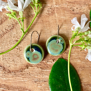 Olive Frost Round Porcelain Dangle Earrings