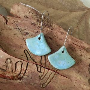 Celadon Bloom Fan Shape Stoneware Dangle Earrings
