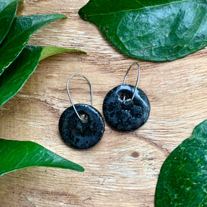 Black Honeycomb Round Raku Stoneware Dangle Earrings