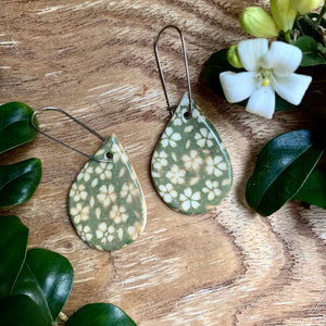 Small Flower Green Tear Drop Shape Porcelain Dangle Earrings