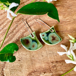 Olive Frost Fan Shape Porcelain Dangle Earrings