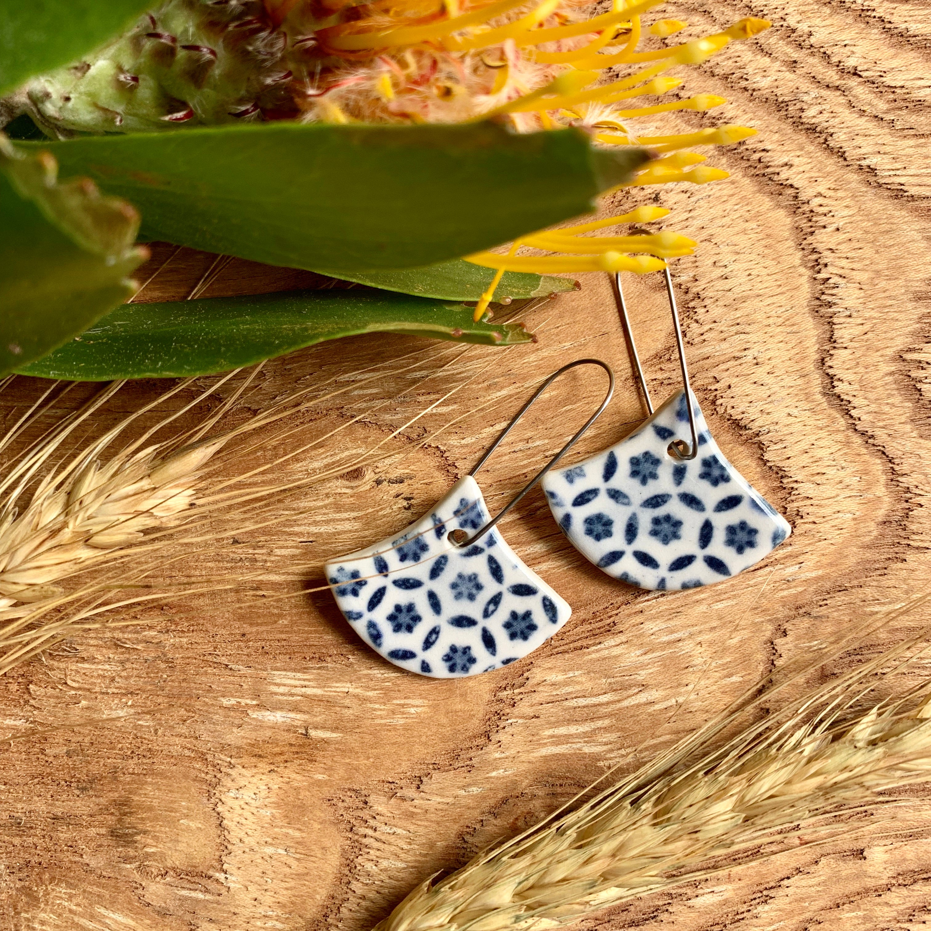 Basket Weave Fan Shape Porcelain Dangle Earrings