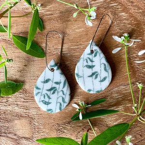 Leaves Waving Green Tear Drop Shape Porcelain Dangle Earrings