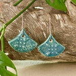 Peacock Starry Night Fan Shape Porcelain Dangle Earrings