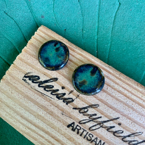 Round Coloured Stoneware Stud Earrings