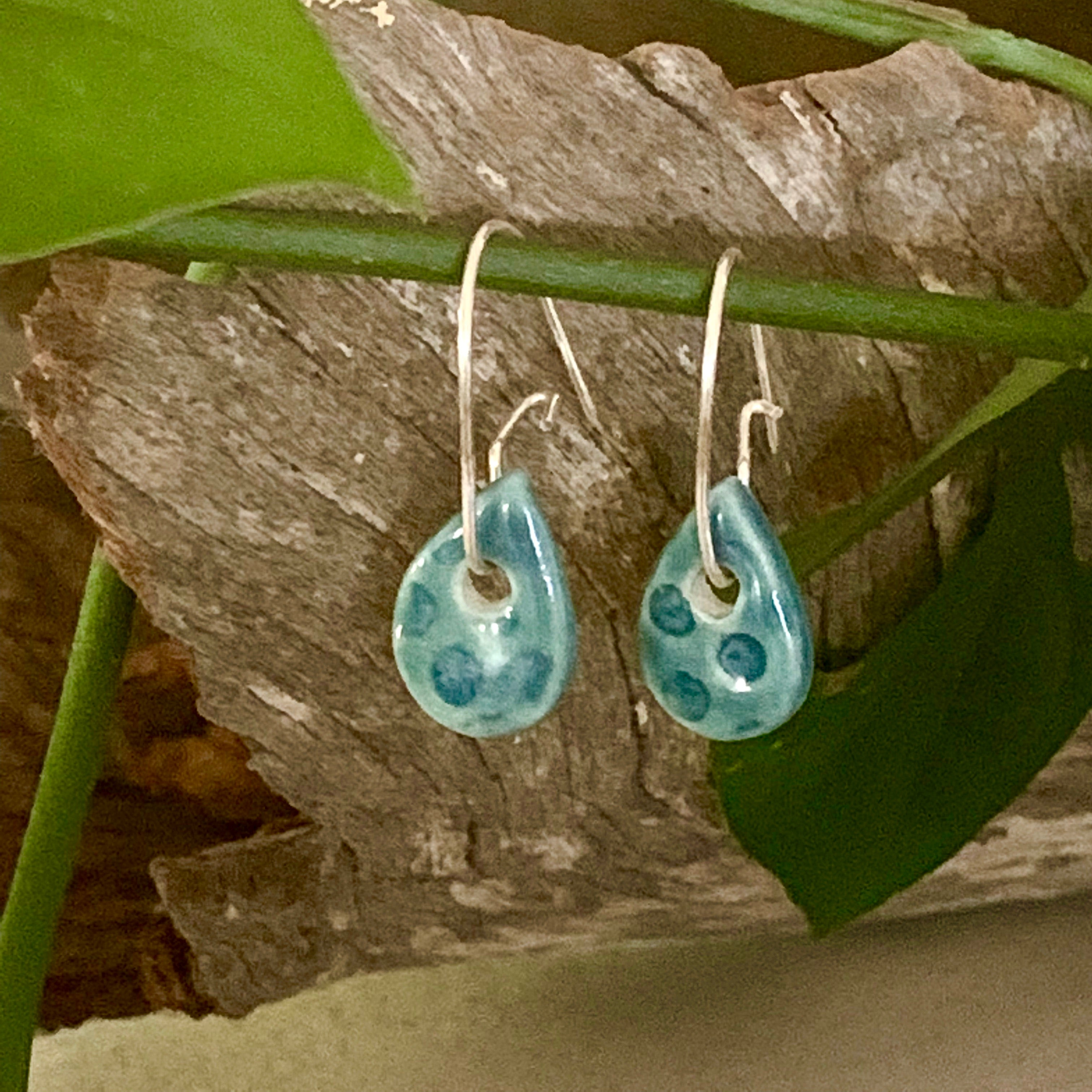 Peacock Tiny Spotty Teardrop Shape Porcelain Dangle Earrings