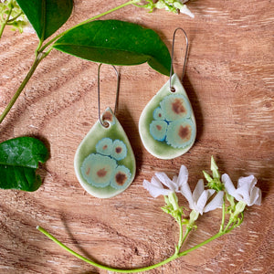 Olive Float Tear Drop Shape Porcelain Dangle Earrings