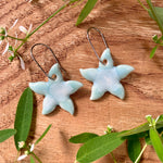 Celadon Bloom Small Jasmine Flower Porcelain Dangle Earrings