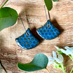 Blue Midnight Honeycomb Fan Shape Porcelain Dangle Earrings