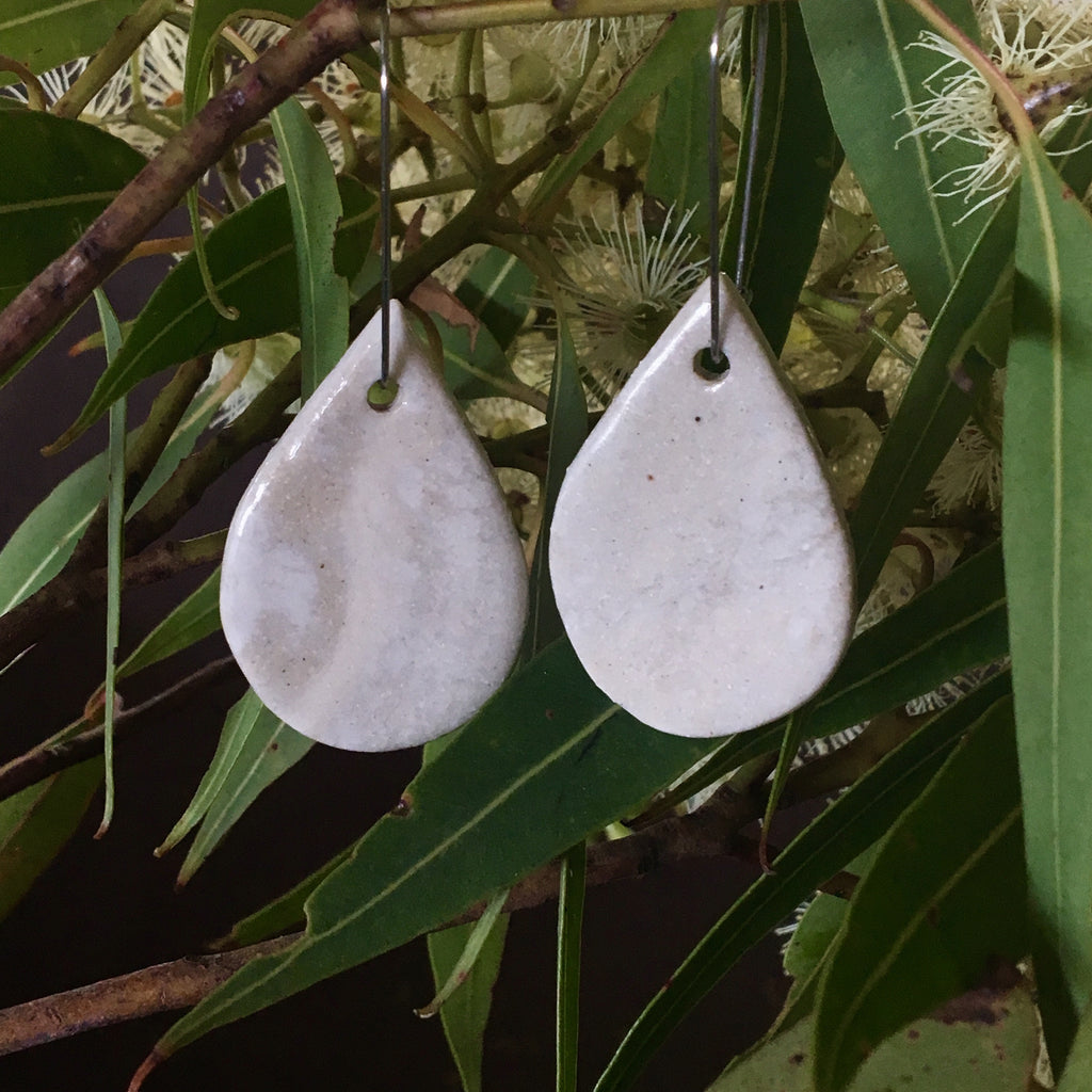 Stoneware & porcelain marbled and clear gloss glazed Tear Drop Shape Stoneware Dangle Earrings