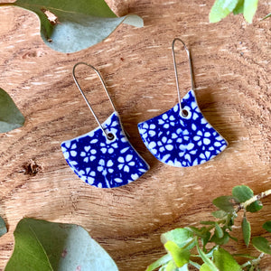 Small Flower Blue Fan Shape Porcelain Dangle Earrings