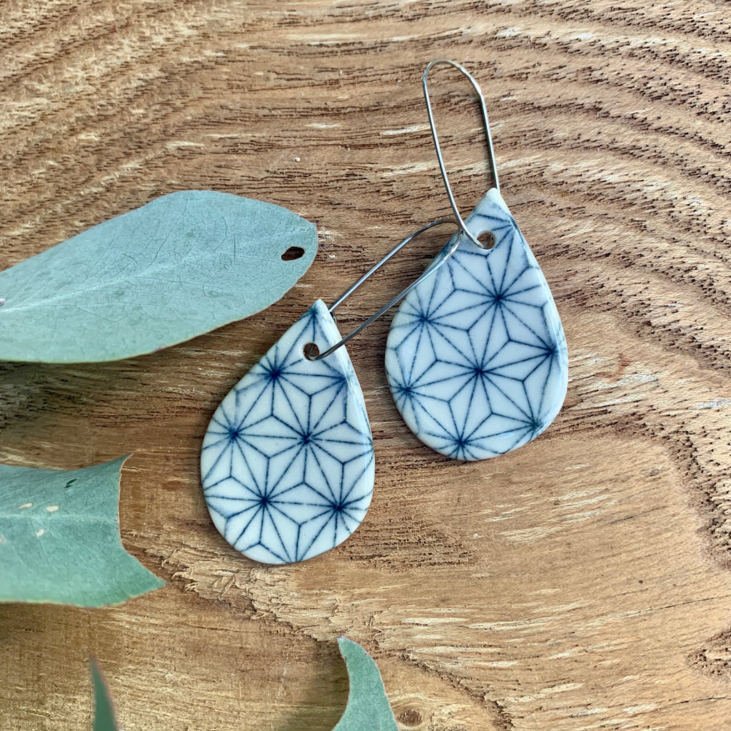Cubic Tear Drop Shape Porcelain Dangle Earrings