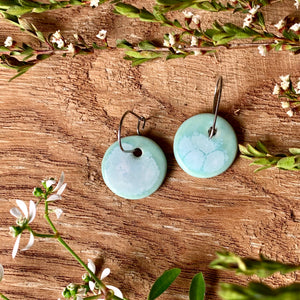 Celadon Bloom Round Porcelain Dangle Earrings