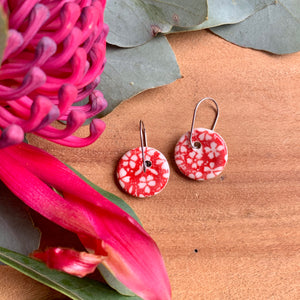 Small Flower Red Round Porcelain Dangle Earrings