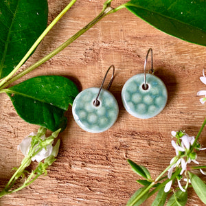 Ming Honeycomb Round Porcelain Dangle Earrings