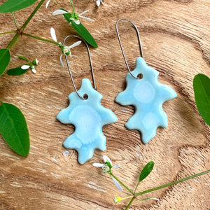 Celadon Bloom Mini Oak Leaf Porcelain Dangle Earrings